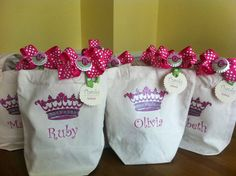 Five Custom Tote Goody Bags with Bottle Cap Hair Bow, Pin or Necklace Adornment and Custom Tags -- you pick theme, image, colors, fonts etc