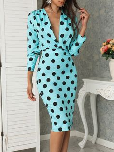Dots Print Plunge Lantern Sleeve Midi Dress - Just Shop Dress Outfits, Casual Dresses, Fashion Dresses, Dress Shoes, Dress Clothes, Casual Clothes, Shoes Heels, Summer Dresses, Look Fashion