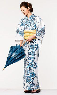 Materials seasonally change the shape of kimono when worn. Season-specific silhouette change // Takashimaya Yukata Summer 2012 Collection