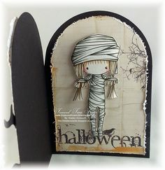 A Crafter's Journal. Wow what a fantastic card. The front is a haunted house and when you open it you have this emo mummy which has been fussy cut . The stamp used here is Just Some Lines Halloween Mummy Halloween Scrapbook, Surfboard, Emo, Layouts, Stamps, Journal, Cards, House, Manualidades