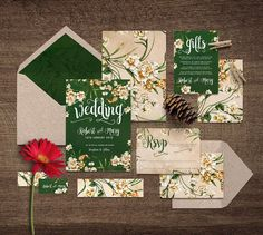 Dark Green DIY Yourself Printable Wedding Invitation 'Snow White'   Rich, dark green watercolour textured mixed with vintage flowers & paper