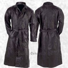 Mens Black Genuine Leather Lined Button Front Trench Coat Full Length Duster  #GiovanniNavarre #Trench