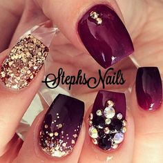 Stephanie Loesch @_stephsnails_ Another throwback...Instagram photo | Websta (Webstagram) Nail Jewels, Rhinestone Nail Designs, Rhinestone Nails, Make Up, Acrylic Nails For Fall, Autumn Nails, Amazing Nails, Great Nails, Fabulous Nails