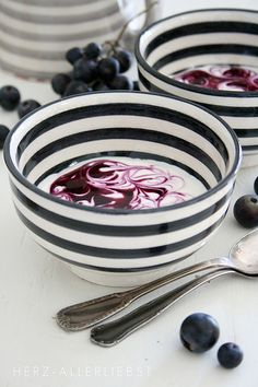Black  White Striped Bowls