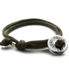mens personalised silver bead and paracord bracelet