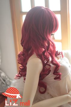Dark Red Heat Friendly Long Big Wave Hair Wig / Lolita Princess Cosplay Party Animation Wig 26'' 65cm-in Wigs from Beauty  Health on Aliexpress.com