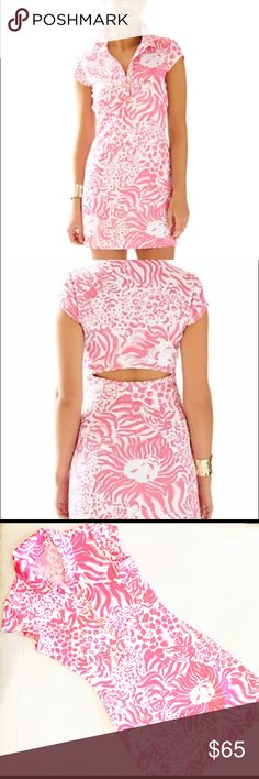 """Lilly Pulitzer Rayna Pink White Lion Print Dress Lilly Pulitzer Women's Rayna Pink White Lion Print Cutout Back Polo Dress . """"Get Spotted"""" Print. Size XS. Preowned good condition. Lilly Pulitzer Dresses Mini"""