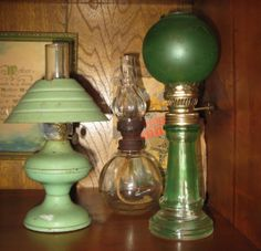 Some of my mom's vintage, miniature oil lamps