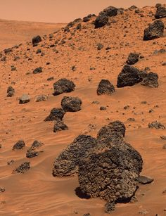 True color image of volcanic basalt rocks in the Gusev Crater, Mars. - Imgur