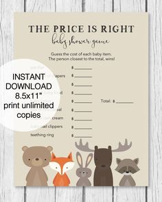 the price is right baby shower game woodland animal theme