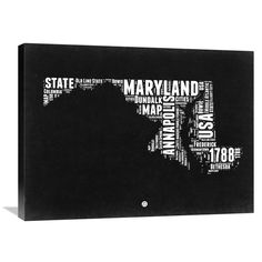 Naxart Studio 'Maryland and White Map' Stretched Canvas Wall Art