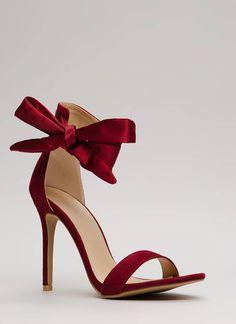 6ed3297b4 Put A Bow On It Tied Ankle Strap Heels BLACK WINE TAUPE - GoJane.com