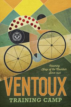 "Ventoux Training Camp Contemporary Poster by John Evans from his ""Evansville"" series"