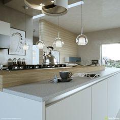 Modern Kitchen Layout And Beautiful Lighting Beautiful Kitchen Designs, Beautiful Kitchens, Cool Kitchens, Kitchen Dining, Kitchen Decor, Nice Kitchen, Stylish Kitchen, Dining Rooms, Kitchen Island