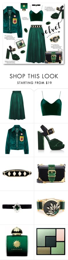 """Crushing on Velvet"" by jelenalazarevicpo ❤ liked on Polyvore featuring Miu Miu, Prada, Just Cavalli, Kenneth Jay Lane, Marni, AMOUAGE, Yves Saint Laurent and L'Oréal Paris"