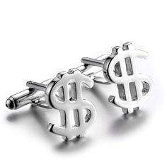 Foresteel Jewelry Steel Dollar Symbol Cufflinks for Men Weddings, Birthday Gifts
