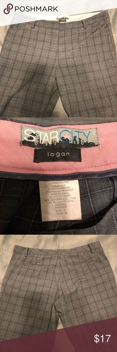 Star City Plaid Pants Star city dress pants Logan Gray plaid, size 15 juniors 2 fake pockets on back, 2 real pockets on front, zip & hook close with button. (Only signs of wear are on bottoms cuffs, sort of rolled up) Star City Pants Trousers