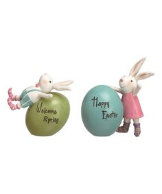 Love this 'Welcome Spring' Rabbit & Egg Figurine - Set of Two on #zulily! #zulilyfinds