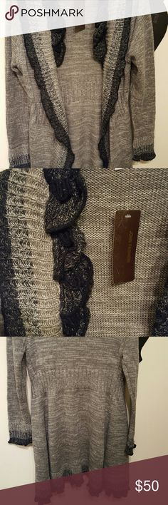 Sweater Tunic/Jacket Beautiful detail!  Grey and black.  Tunic length Sweaters