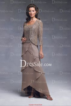 Mature, Two piece, Sheath Mother of the Bride Dress