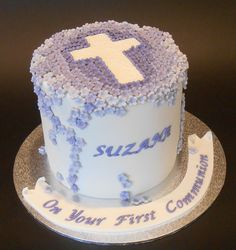 Lilac Blossoms Cross Communion Cake - by Nada's Cakes Canberra