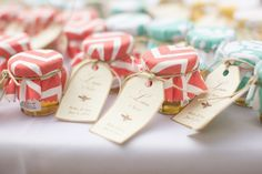 Jars of honey or jam are the perfect thank-you presents for wedding guests. They both have long shelf lives and are such a sweet treat!