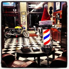 Good morning and Happy Monday from the barber shop! December.....here we go! #barbers #barbershop #december #holiday #decorating #barberpole #santahat #motorcycle #yaletownbarbers #barberlife #yaletown #vancouver #barbershops Read more at http://web.stagram.com/n/barberboss/#ISkyzTgAF8F3kDzJ.99 Shelley Salehi @loveyourbarber Instagram photos | Webstagram