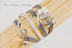 Bracelet multi rangs gris et beige : Bracelet par my-lolitop-boutique