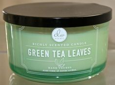 DW HOME GREEN TEA LEAVES CANDLE  3 WICK 26 HR 13.58OZ GREEN GLASS ROUND DW5108  #DWHOMEINC