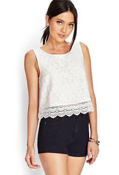 Beautiful Lace Tops for Women : Cream Floral Crochet Lace Top