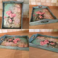Tray vintage with decoupage Shabby Chic Crafts, Shabby Chic Cottage, Shabby Chic Decor, Decoupage Wood, Decoupage Furniture, New Crafts, Diy Crafts To Sell, Painted Trays, Rose Art