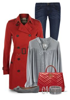 """""""Red Coat"""" by stileclassico ❤ liked on Polyvore featuring Trilogy, Current/Elliott, Burberry, Chicwish, Gucci, Salvatore Ferragamo, Lafayette 148 New York, Konstantino, Blue Nile and red"""