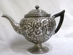19C. GORHAM REPOUSSE STERLING SILVER TEA POT | eBay