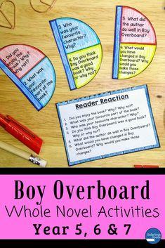 Boy Overboard Novel Study: Whole Novel Activities Teaching Activities, Teaching Strategies, Teaching Ideas, Teacher Resources, Classroom Resources, Classroom Ideas, Morris Gleitzman, Language Study, Language Arts