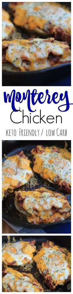 Keto Monterey Chicken is one of our favorite go-to low carb meals that is ready in minutes using the cast iron skillet cooking method! A perfect keto chicken dinner recipe and cast iron skillet meal t Keto Foods, Ketogenic Recipes, Diabetic Recipes, Low Carb Recipes, Cooking Recipes, Ketogenic Diet, Cheesy Recipes, Low Carb Meals, Healthy Recipes