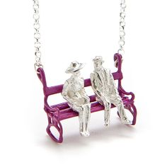 Yael & Tal's couple on a bench necklace