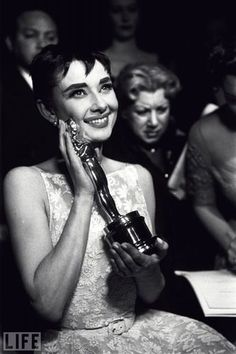 Audrey Hepburn after her 1954 win for Roman Holiday #oscars