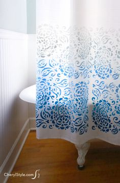 Make your own ombre-style stenciled shower curtain with our mixing techniques using Tulip For Your Home's stencils and paint!