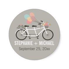 Tandem Bicycle Wedding Round Stickers