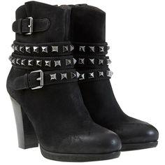 Mint Velvet Biker Style Heeled Leather Ankle Boots, Black found on Polyvore
