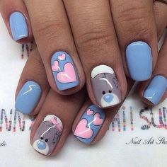 February nails, Bears nails, Cheerful nails, Heart nail designs, Hearts on… Heart Nail Designs, Best Nail Art Designs, Trendy Nail Art, Cute Nail Art, Ongles Hello Kitty, Love Nails, Fun Nails, Nail Art Design Gallery, Design Art