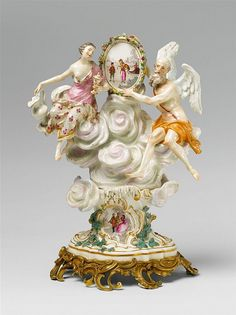 A rare Meissen porcelain group as an allegory of winter