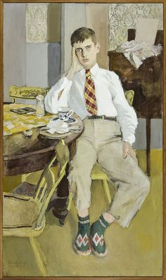 "''Jerry,'' Fairfield Porter, 1955, oil on canvas, 62 × 37"", Hirschl & Adler Modern"