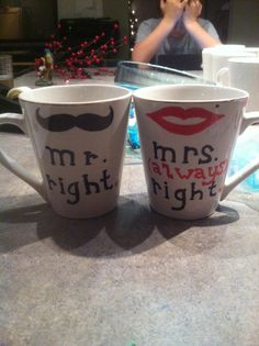 prissy ideas his and her coffee mugs. I made these his an her cups using dollar tree mugs and sharpie  Sharpie Bridesmaid quote mug Super easy to do dishwasher safe