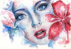 flower woman watercolor painting Joanna Wedrychowska