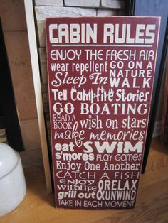 NEW Cabin Rules Primitive Rustic by PrimitiveExpressions, $30.00
