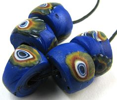 5 Matched Old RARE Rondel Millefiori Blue Venetian Glass African Trade Beads | These are nice beads from my collection. FIVE WELL MATCHED BEADS OF OLD RARE MILLEFIORI RONDEL SHAPED NICE BLUE CANE DESIGN VENETIAN GLASS AFRICAN TRADE BEADS. Perfect for collectors or designers who like to use nice African trade beads in their jewelry. #tradebeads