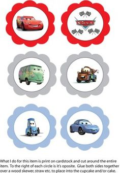 Printed it: Disney Lightning McQueen Free Cupcake Toppers, I used them on water bottles with checkered duct tape behind. Disney Cars Cupcakes, Disney Cars Party, Disney Cars Birthday, Cars Birthday Parties, Third Birthday, Birthday Fun, Birthday Cakes, Lightning Mcqueen Party, Flash Mcqueen