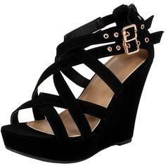 Amazon.com | Womens Gladiator Buckles High Heel Platform Sandals... (170 SEK) ❤ liked on Polyvore featuring shoes, sandals, high heeled footwear, gladiator sandals, high heel platform shoes, high heel gladiator shoes and buckle platform sandals