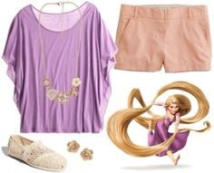 """""""Rapunzel Outfit #2 ~ This outfit is a little more relaxed than the others, but the flutter sleeves on the tee keep with the girly, princess-y vibe. Again, since Rapunzel doesn't wear shoes, the simple lace TOMS above still maintain a soft, natural look. Finish the look off with neutral floral jewelry for extra princess appeal."""""""